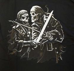 """T-shirt """" Piraten skeletten """"  Zwart"""