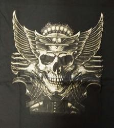 """T-shirt """" Doodskop met vleugels """"  Zwart"""