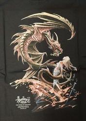 """T-shirt """" Aanvallende draak met vrouw """"  Zwart"""