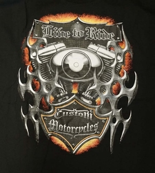 "T-shirt "" Live to ride custom  "" Zwart"
