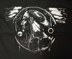 "T-shirt "" Indiaan op mandela  "" Zwart"