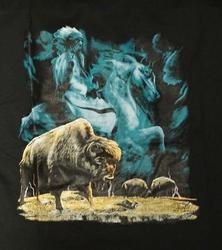 """T-shirt """" Indiaan op paard met bizon  """" Zwart"""