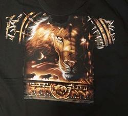 """T-shirt """" Leeuw voorkant en achterkant bedrukt """"  Zwart"""