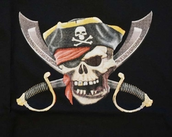 """T-shirt """"  Piratendoodskop met zwaarden """"  Zwart"""