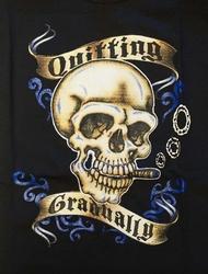 "T-shirt "" Quitting gradualig "" zwart"