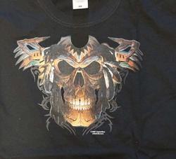 "T-shirt "" front: Doodskop indiaan Back: totempaal"" zwart"