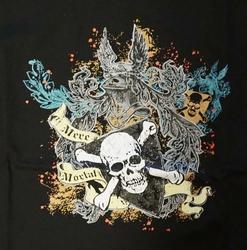 """T-shirt """"  Mere mortal """"  zwart"""