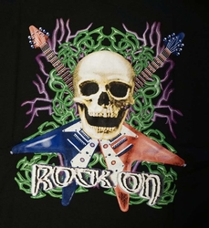 """T-shirt """"  Rock on / doodskop met gitaren""""  zwart"""