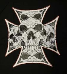 """T-shirt """" Maltezer kruis met doodskoppen """" Zwart"""
