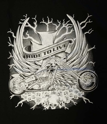 "T-shirt "" Ride to live "" Zwart"