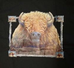 """T-shirt """" Bizon op mandela """"  Zwart"""