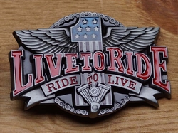 "Buckle / gesp  "" Live to ride, ride to live """