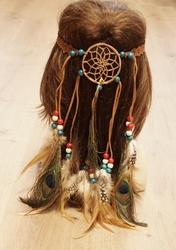 Haarband met dromenvanger met bruine veren en kralen