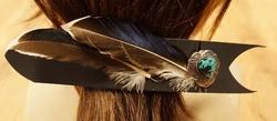 Leren haarclip