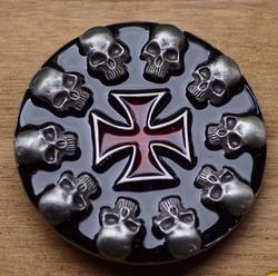 """Belt buckle  """" Doodshoofden rond Maltezer kruis """""""