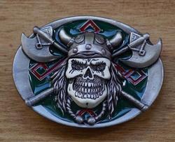 """Belt buckle  """" Viking schedel op strijdbijlen """"  UITVERKOCHT"""