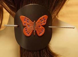 Leren haarspelden vlinders